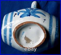 17th century French faience Nevers polychromed barrel pilgrim flask circa 1675