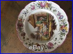 18th C FRENCH FAIENCE PROVINCIAL TABLE SCENE PLATE ROSES