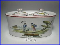 18th C. Veuve Perrin VP. French Faience Charming Illustrated Double Ink Well