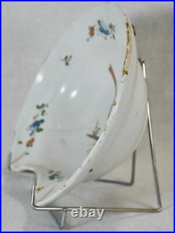 18th Century French Moustier faience shaving bowl plat a barbe