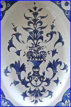 18th Century Rouen Antique French Blue & White Faience Serving Dish Meat Platter