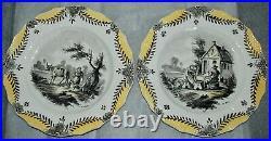 1900's set of 2 Porcelain plates French FAIENCE SCEAUX 1777 Hand decorated PARIS