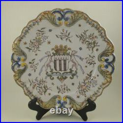 19c Antique Desvres Faience Dinner Plate Armorial Dogs FOURMAINTRAUX FRERES