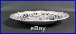 19c. French Hand Painted Cornucopia Flowers Bird Faience Wall Plate Artist Signed