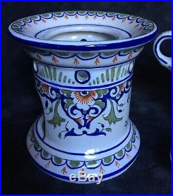 19th Century Antique French Faience Rouen Desvres Nevers Teapot & Warming Stand
