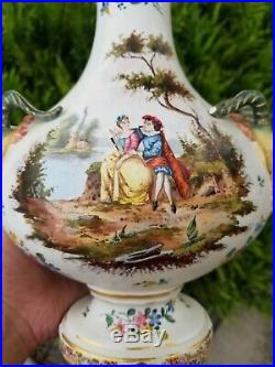 19th Century French Hand Painted Veuve Perrin Figural Faience Vase