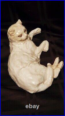 19thC French Faience Cat Style Galle Des Fres Glass Eyes Hand Sculpted Antique