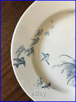 2 Antique French Faience de GIEN PAYSAGES Plates Bird Landscape Blue White c1875