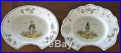 2 Quimper Antique French Faience Barber Bowls, Shaving Bowls Circa 1850