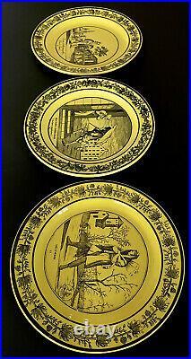 (3) Canary Yellow French Transferware Faience Pottery Plates, P&H Choisy, c. 1830
