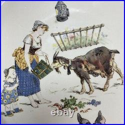 4 Antique 1875-1900 French Sarreguemines Faience Story Plates UTZSCHNEIDER & Co