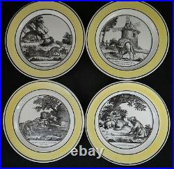 4 Antique French Creil Yellow Rimmed Faience Plates with Fables. 8 ½ dia