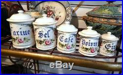 5 French Antique Faience Canisters Complete Set with Lids by Choisy-le-Roi