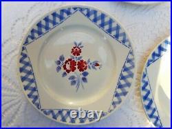 5 lovely antique french dessert plates Luneville red flowers blue checks 1910s
