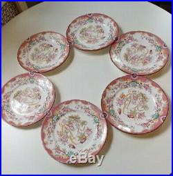 6 Antique French Faience Luncheon Plates. Pink Floral Pattern
