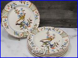 6 Antique French Faience Pottery Plates Pheasant Bird Floral 9 1/8 Hand Painted