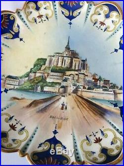 ANTIQUE 34 CM PLATE FRENCH FAIENCE DESVRES ROUEN plate MONT SAINT MICHEL