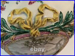 ANTIQUE FRENCH FAIENCE 2 HANDLED 18 SCENIC 2 Piece VASE URN SIGNED RX