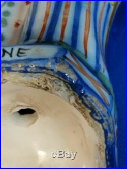 ANTIQUE FRENCH FAIENCE HENRIOT QUIMPER 8 FIGURINE OF SAINT ANNE c. 1922