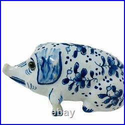 ANTIQUE FRENCH FAIENCE SIGNED MOSANIC POTTERY PIG BLUE and WHITE