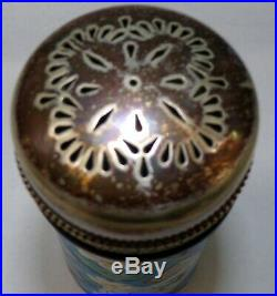 ANTIQUE HIgh Quality FAIENCE MAJOLICA WITH SILVER LID SUGAR SHAKER GORGEOUS