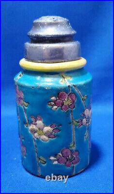 ANTIQUE LONGWY FAIENCE ART POTTERY SALT SHAKER, FRANCE 1800's