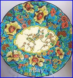ANTIQUE LONGWY French Faience Pottery 10 Plate Birds & Floral Pattern C. 1920s