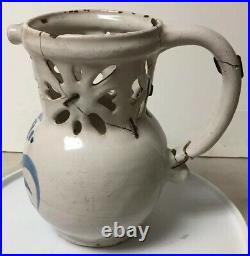 ANTIQUE NOVELTY POTTERY FAIENCE PUZZLE JUG / PITCHER DRINKING VESSEL, as is
