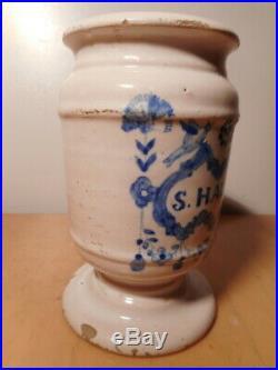 Albarello Cover Pot Pharmacy Antique Apothecary Faience 18 Scarce Ceramic French