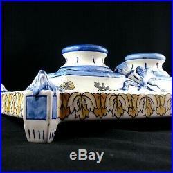 Ancien ENCRIER Double, Faïence GIEN RENAISSANCE, Antique French Ceramic Inkwell