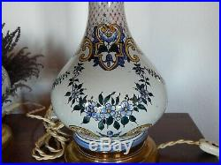 Ancienne Lampe pétrole/huile en faïence Rouen 19 ème siècle antique french/déco