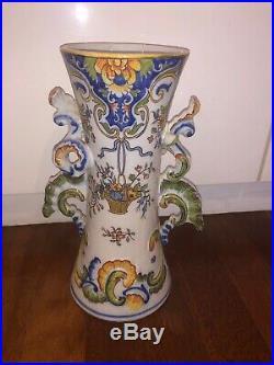 Antique 1880 Century Faience(tinglaze)France, Vase Pair Candleholders &Jam Holder