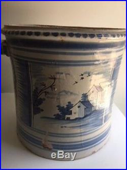 Antique 18th C. French Faience Blue And White Floor Plant Pot