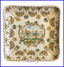 Antique 18th Ce Moustiers Olérys and Laugier French Faience Square Plate France