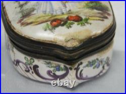 Antique 18th Century Sceaux French Faience Porcelain Hinged Dresser Trinket Box