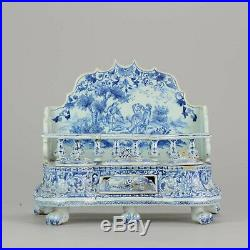 Antique 19/20C French Faience Ceramic Ink Stand Landscape Scene Figures