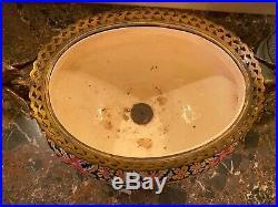 Antique 19th C Continental Gilt Bronze Metal Faience Jardiniere Planter Urn Vase