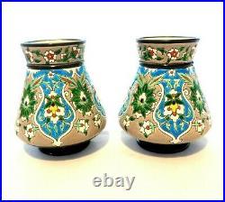 Antique 19th. C Jules Vieillard & Co Bordeaux Faience Pottery Vases Longwy