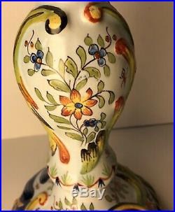 Antique 19th Century Faience Large Candlestick Holder EUC French