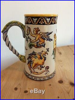 Antique 19th Century French Gien Porcelain Faience Pitcher, Mythical Decoration