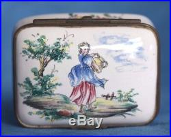 Antique 19th Century French VEUVE PERRIN Faience Table Snuff Trinket Box France
