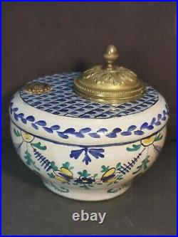Antique 19th French Faience Inkwell Hand Painted Brass/Bronze Lid ic Paris Mark