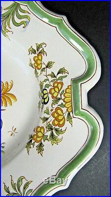 Antique 19thC French Faience de Moustiers Grotesque Hand Painted Platter Plate