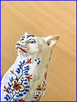 Antique 19thc French Faience Pottery Cat Twin Open Salt Marked With H