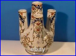 Antique 5 Finger Vase French Faience Hand Painted Tulip Vase c1900