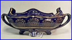 Antique Art Nouveau Cobalt & Gold Trim French Faience Jardiniere Ships in USA