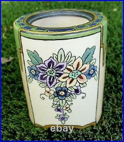 Antique Art Nouveau French Flower Faience Enamel Container Emaux De Longwy