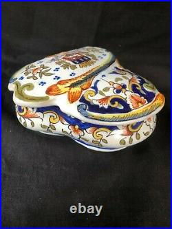 Antique Box French Faience Desvres Rouen 19 Th Century With Coat Of Arms