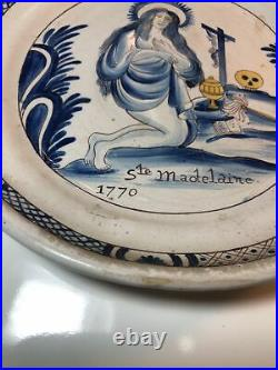 Antique C18th French Faience Porcelaine Plate St. Madelaine 1770