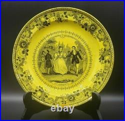 Antique Canary Yellow French Transferware Plate 8-1/4 Montereau Faience 1800s
